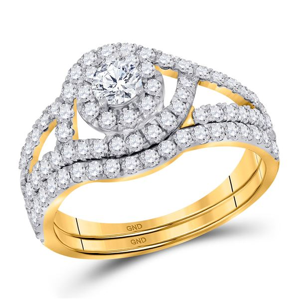 Diamond Bridal Wedding Ring Band Set 1-1/4 Cttw 14kt Yellow Gold