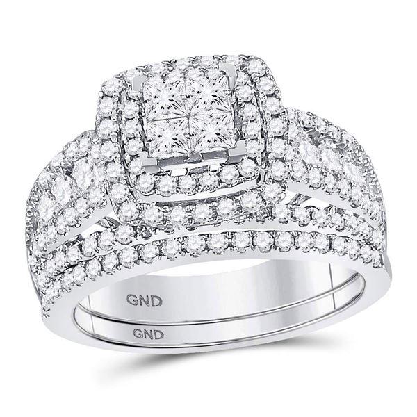 Princess Diamond Bridal Wedding Ring Band Set 1-3/4 Cttw 14kt White Gold