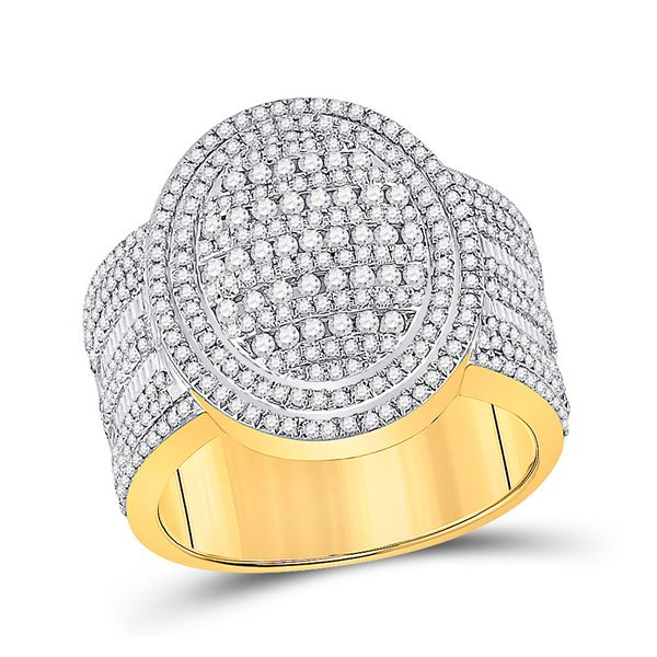 Mens Baguette Diamond Oval Statement Cluster Ring 1-5/8 Cttw 10kt Yellow Gold