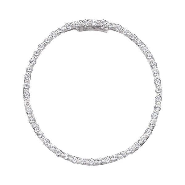Diamond Open-center Circle Pendant 1/2 Cttw 14kt White Gold