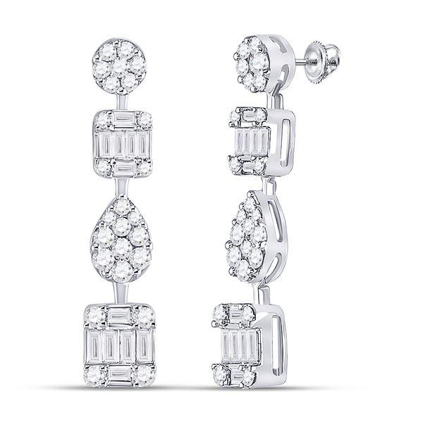 Diamond Baguette Square Dangle Earrings 1-1/3 Cttw 14kt White Gold
