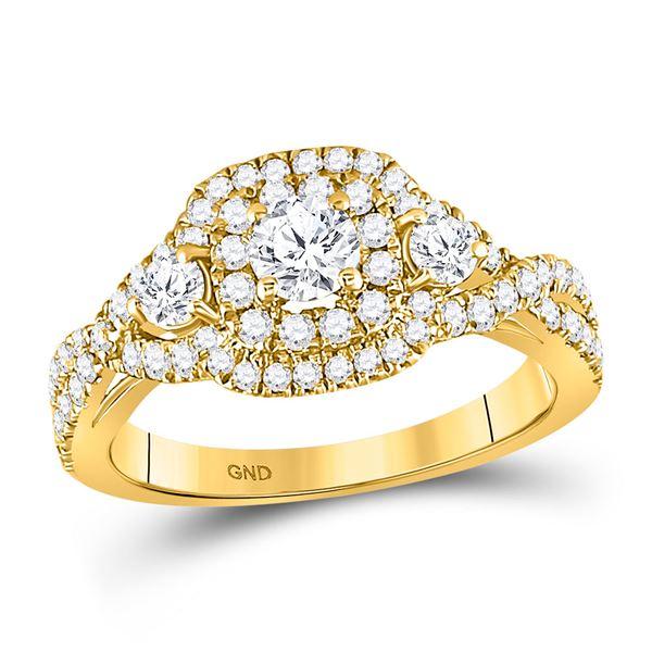 Diamond 3-stone Twist Bridal Wedding Engagement Ring 1 Cttw 14kt Yellow Gold