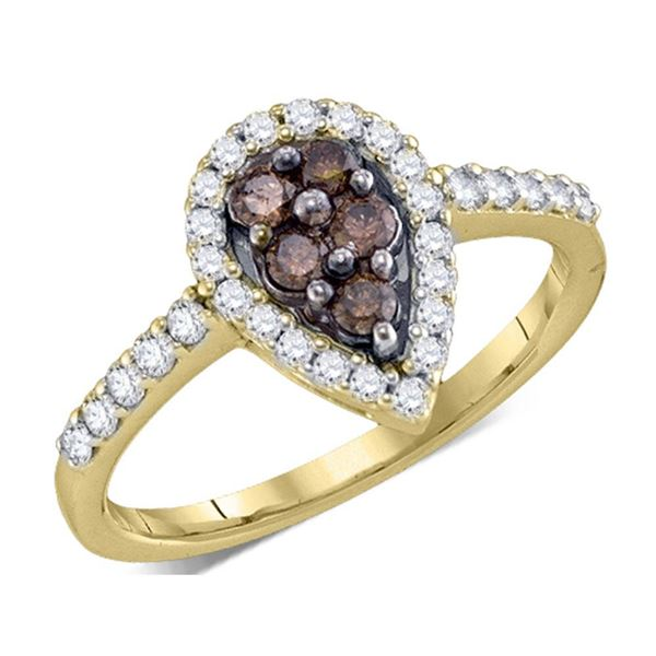 Brown Diamond Cluster Ring 1/2 Cttw 10kt Yellow Gold