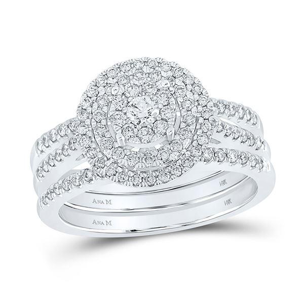 Diamond Cluster Bridal Wedding Ring Band Set 3/4 Cttw 14kt White Gold