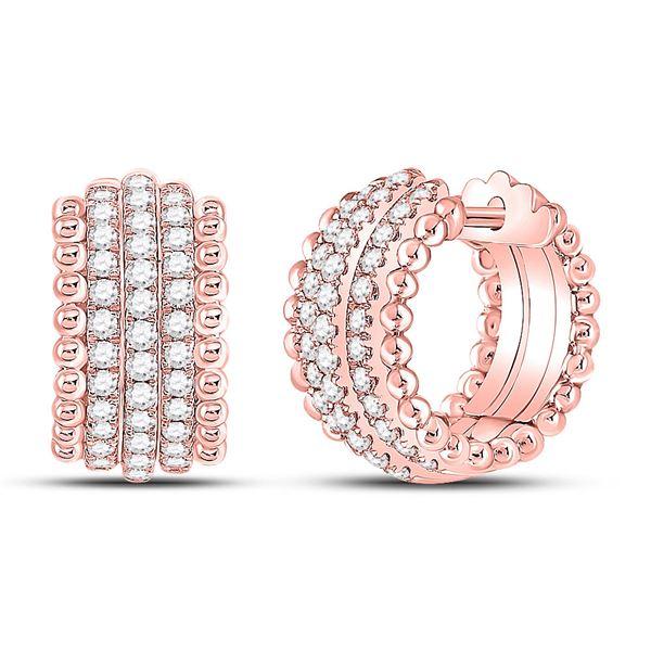 Diamond Huggie Earrings 3/4 Cttw 14kt Rose Gold