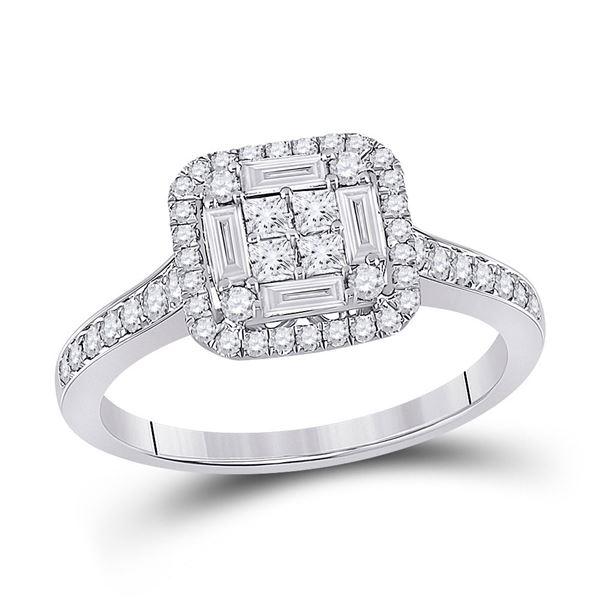 Baguette Diamond Square Cluster Ring 3/4 Cttw 14kt White Gold