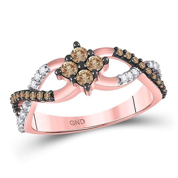 Brown Diamond Cluster Twist Ring 1/2 Cttw 10kt Rose Gold