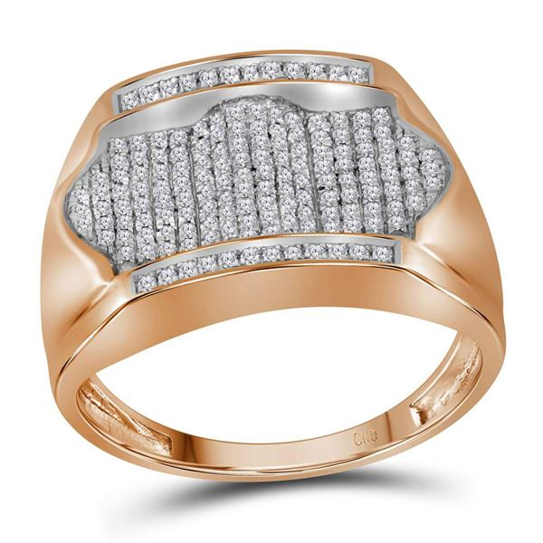 Mens Diamond Rectangle Arched Cluster Ring 1/2 Cttw 10kt Rose Gold