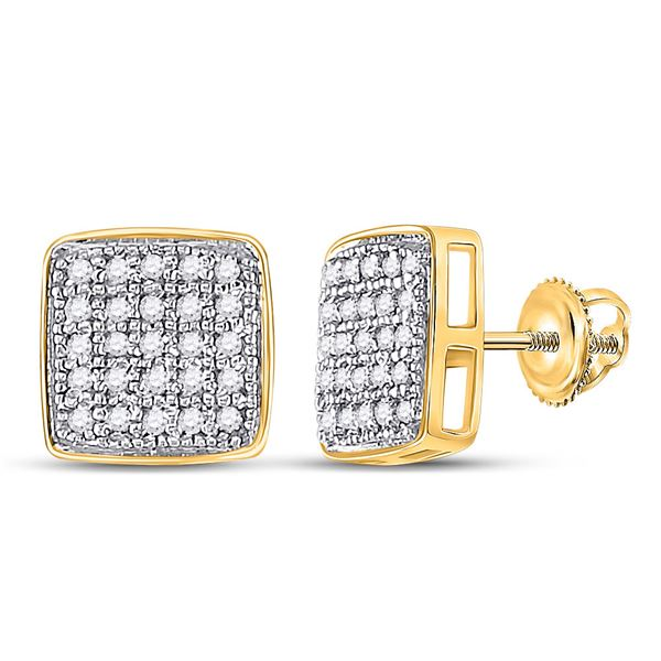 Diamond Square Cluster Earrings 1/6 Cttw Yellow-tone Sterling Silver