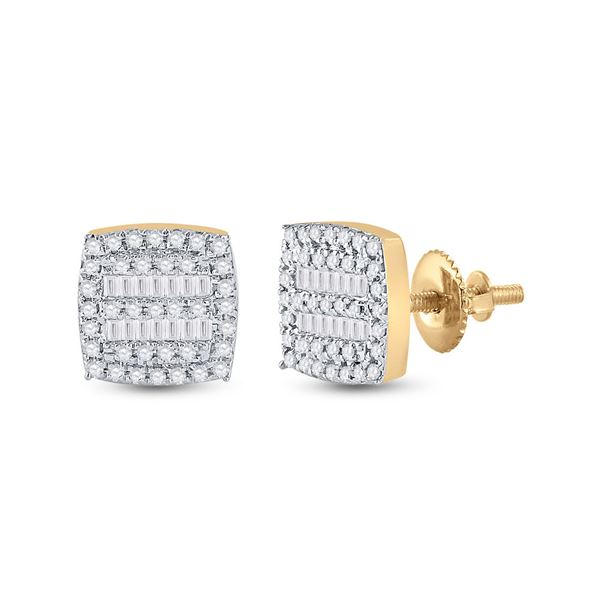 Baguette Diamond Square Earrings 1/3 Cttw 10kt Yellow Gold