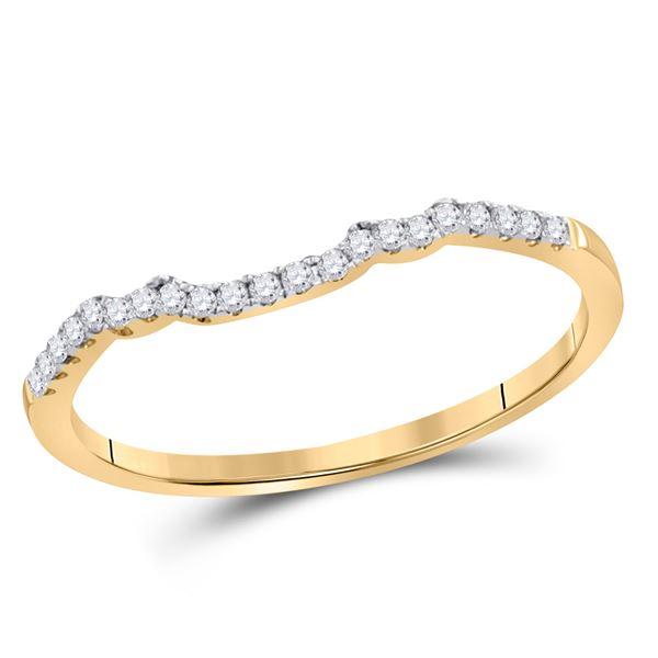 Diamond Contoured Slender Wedding Band 1/10 Cttw 14kt Yellow Gold