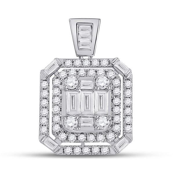 Diamond Square Cluster Pendant 7/8 Cttw 14kt White Gold