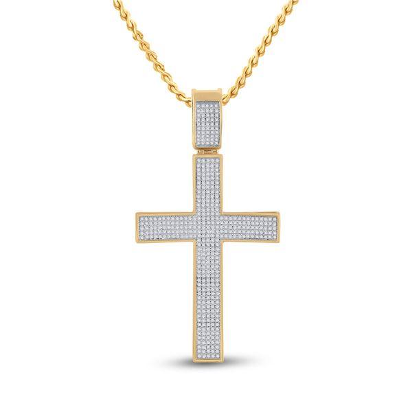 Mens Diamond Cross Charm Pendant 1 Cttw 10kt Yellow Gold