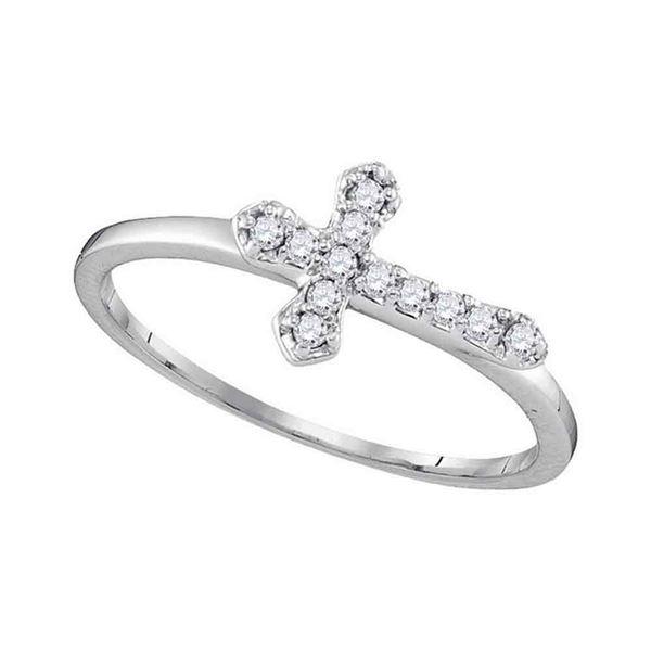 Diamond Cross Band Ring 1/8 Cttw 10kt White Gold