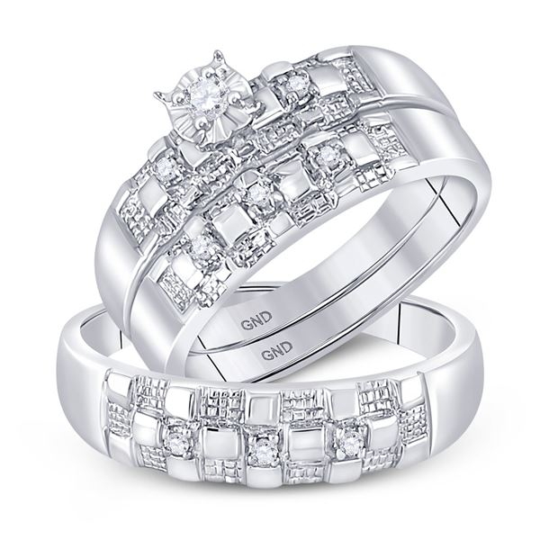 His Hers Diamond Solitaire Matching Wedding Set 1/6 Cttw 10kt White Gold