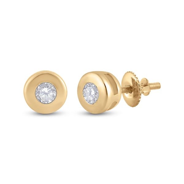 Diamond Solitaire Earrings 1/10 Cttw 14kt Yellow Gold