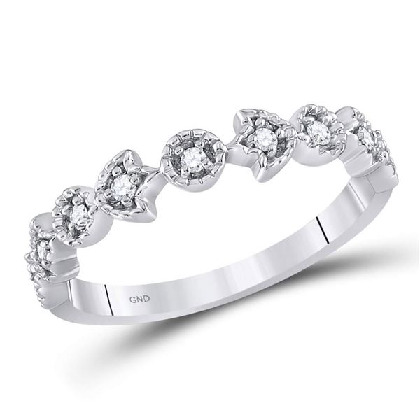 Diamond Floral Stackable Band Ring 1/10 Cttw 14kt White Gold