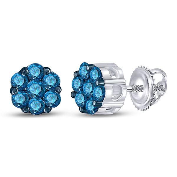 Blue Color Enhanced Diamond Cluster Earrings 1/2 Cttw 10kt White Gold