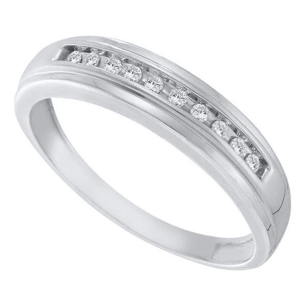 Mens Channel-set Diamond Single Row Wedding Band 1/8 Cttw 10kt White Gold