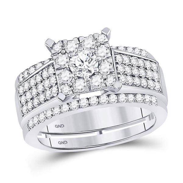 Diamond Bridal Wedding Ring Band Set 1-3/8 Cttw 10kt White Gold