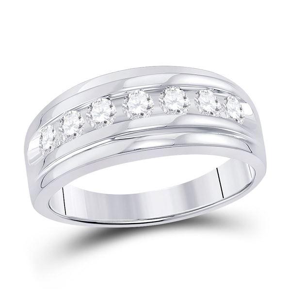 Mens Diamond Wedding Channel-Set Band Ring 7/8 Cttw 10kt White Gold