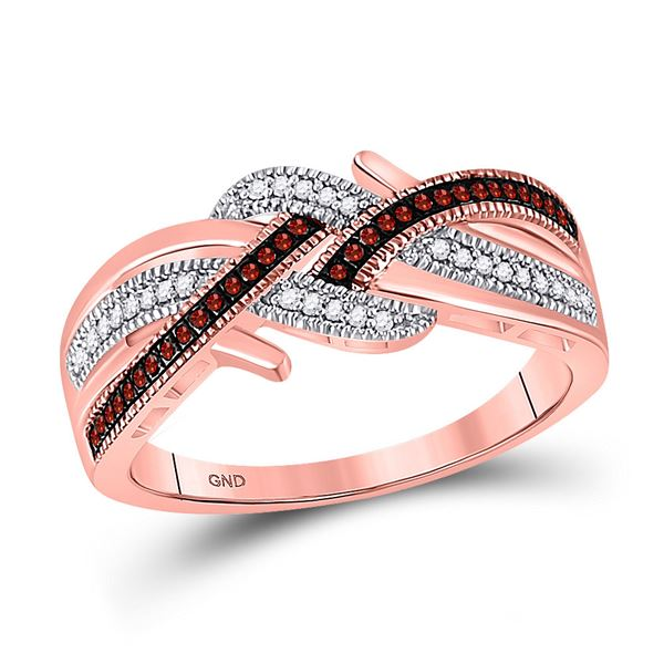 Red Color Enhanced Diamond Crossover Band Ring 1/6 Cttw 10kt Rose Gold