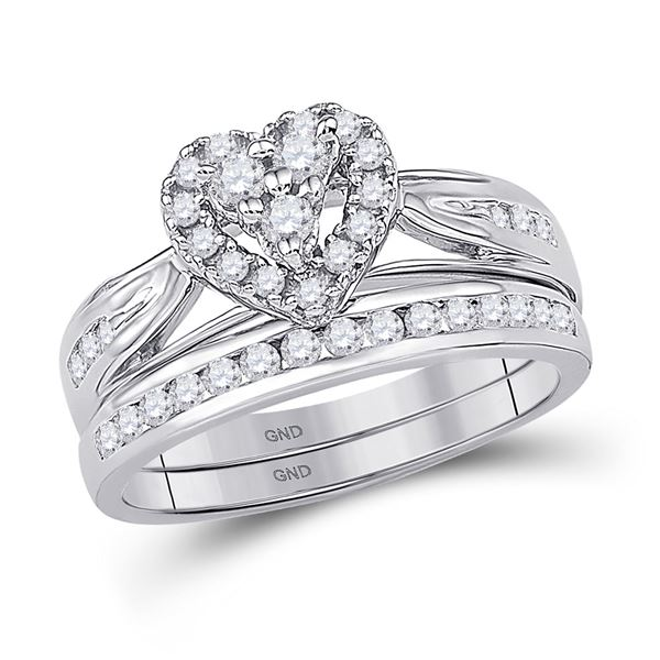 Diamond Heart Bridal Wedding Ring Band Set 1/2 Cttw 10kt White Gold
