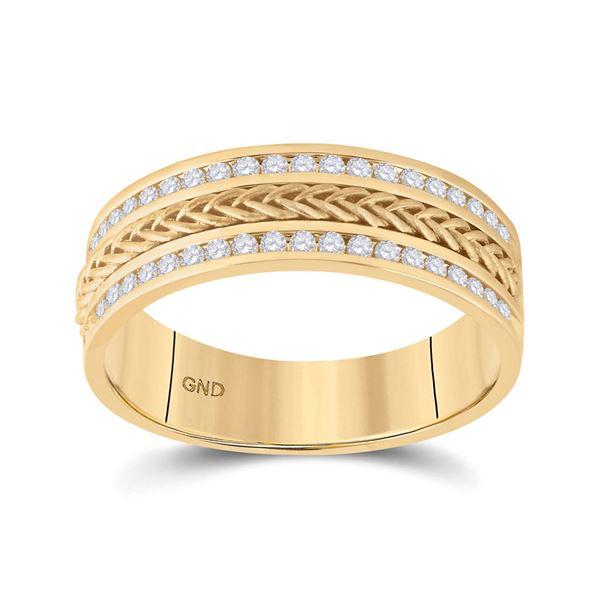 Mens Diamond Wedding Braided Band Ring 1/2 Cttw 14kt Yellow Gold