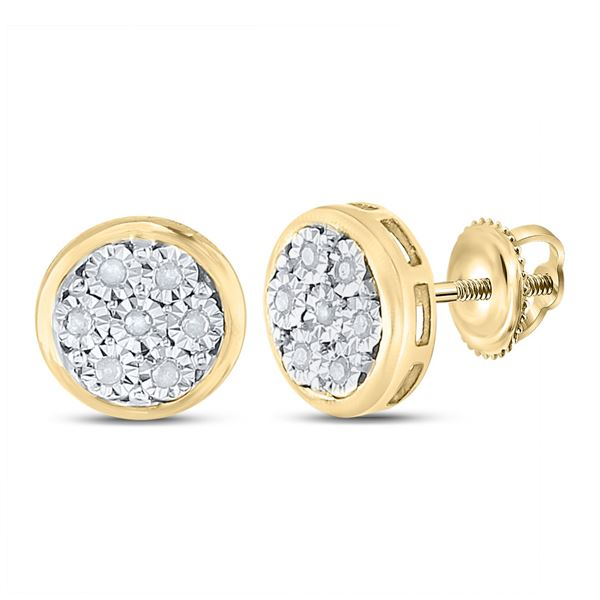 Diamond Cluster Earrings 1/10 Cttw Yellow-tone Sterling Silver