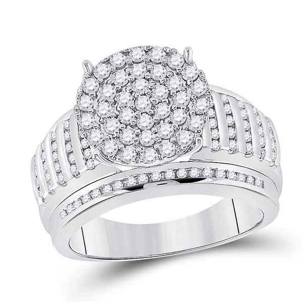 Diamond Cluster Bridal Wedding Engagement Ring 7/8 Cttw 14kt White Gold