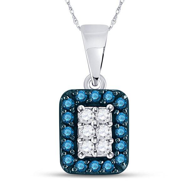 Blue Color Enhanced Diamond Rectangle Cluster Pendant 1/5 Cttw 10kt White Gold