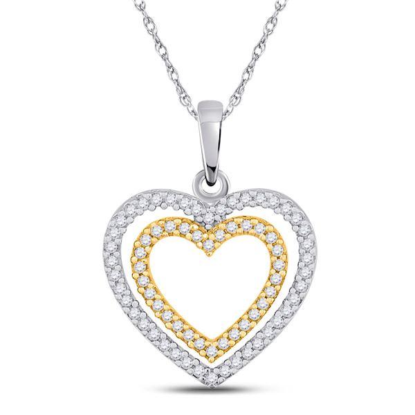 Diamond Double Heart Pendant 1/4 Cttw 10kt Two-tone Gold