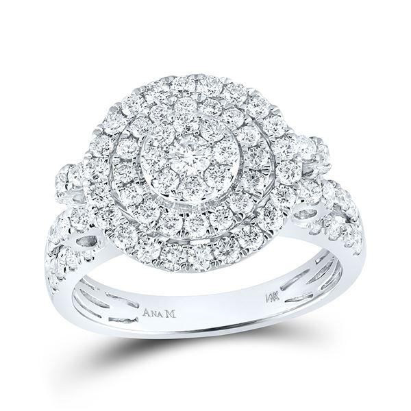 Diamond Circle Cluster Ring 1-1/3 Cttw 14kt White Gold