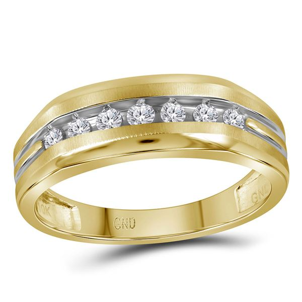 Mens Diamond Grooved Wedding Band Ring 1/4 Cttw 10kt Two-tone Yellow Gold