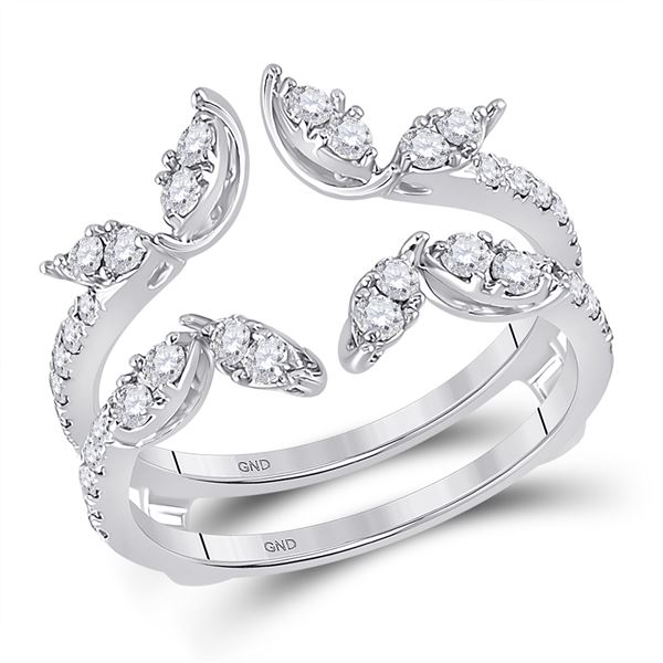 Diamond Wedding Wrap Ring Guard Enhancer 3/4 Cttw 14kt White Gold