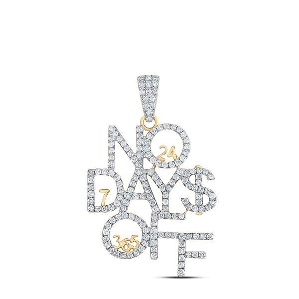 Mens Diamond No Days Off 24 7 365 Charm Pendant 2 Cttw 10kt Yellow Gold