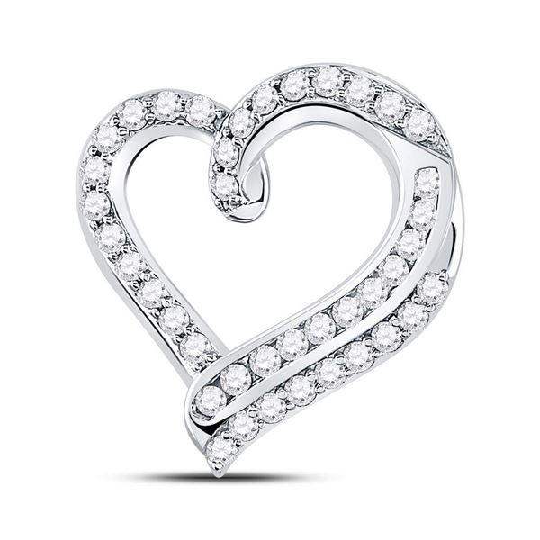 Diamond Heart Pendant 1 Cttw 14kt White Gold