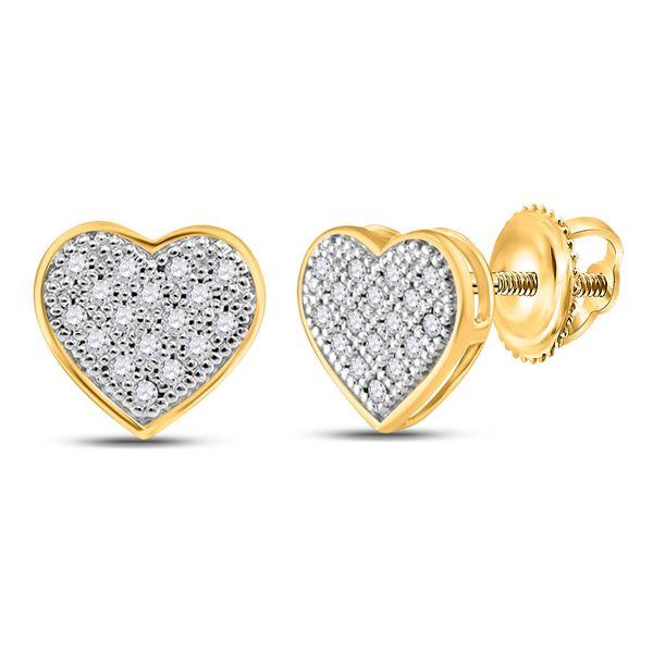 Diamond Heart Cluster Stud Earrings 1/10 Cttw 10kt Yellow Gold