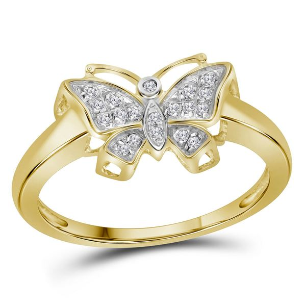 Diamond Butterfly Bug Ring 1/20 Cttw 10kt Yellow Gold