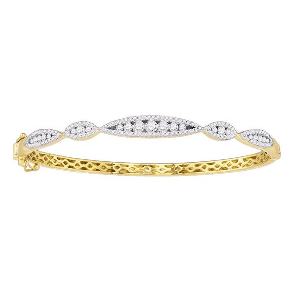 Diamond Bangle Bracelet 1 Cttw 10kt Yellow Gold