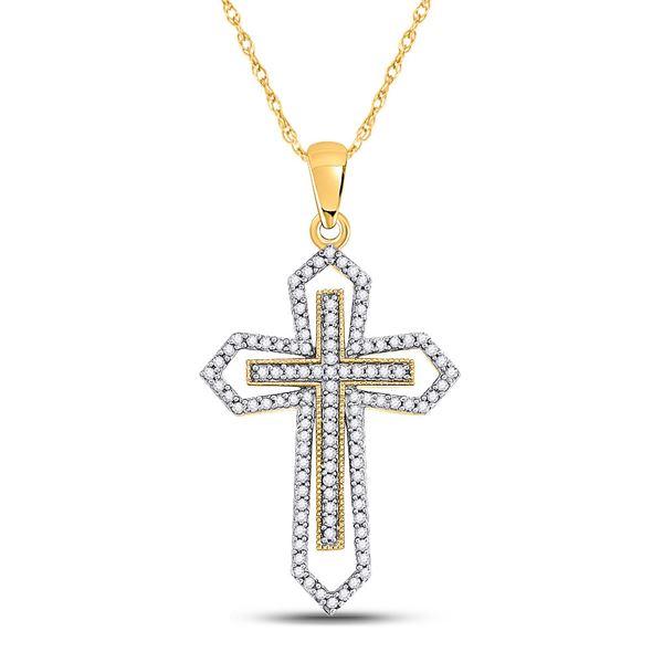Diamond Gothic Cross Pendant 1/2 Cttw 10kt Yellow Gold