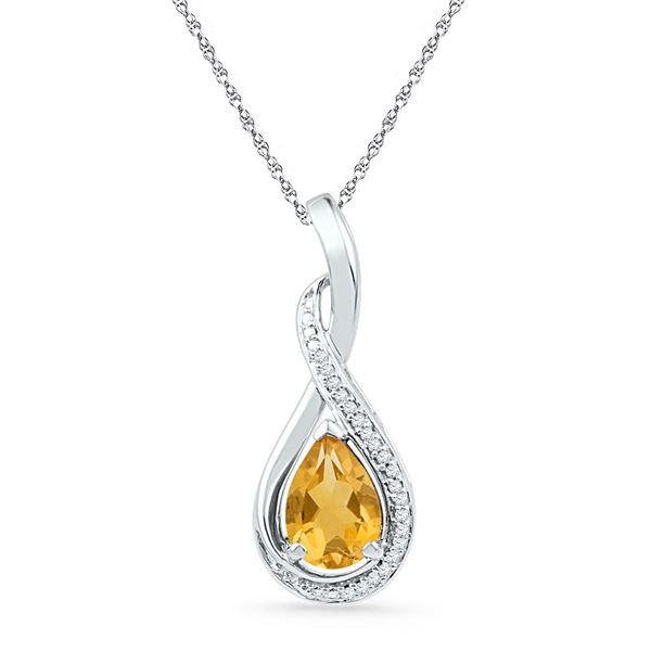 Oval Lab-Created Citrine Solitaire Diamond Frame Twist Pendant 1 Cttw Sterling Silver