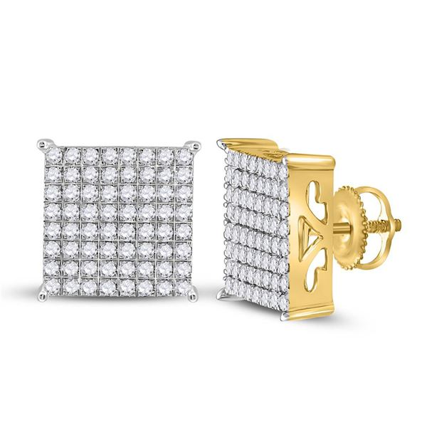 Diamond Square Earrings 1 Cttw 10kt Yellow Gold