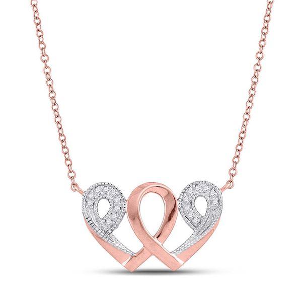 Diamond Interwoven Heart Infinity Love Pendant Necklace 1/20 Cttw 10k Rose Gold