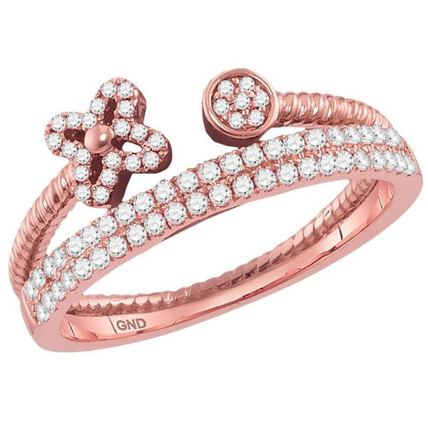 Diamond Flower Bisected Stackable Band Ring 1/5 Cttw 14kt Rose Gold