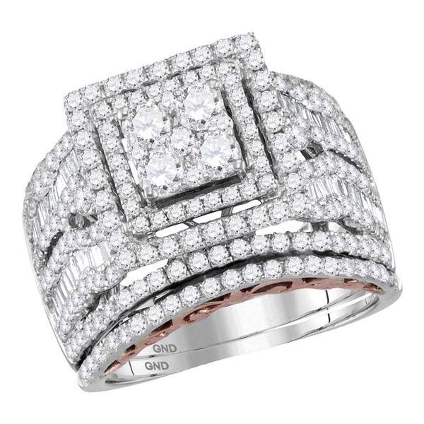 Diamond Bridal Wedding Ring Band Set 2-1/2 Cttw 14kt Two-tone Gold