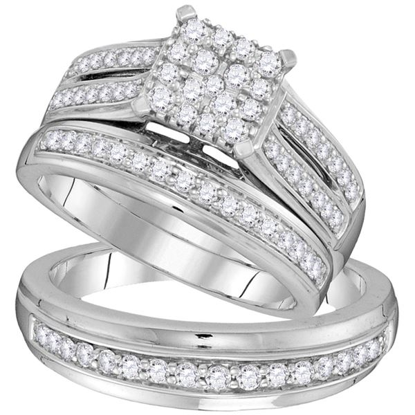 His Hers Diamond Square Matching Wedding Set 1 Cttw 10kt White Gold