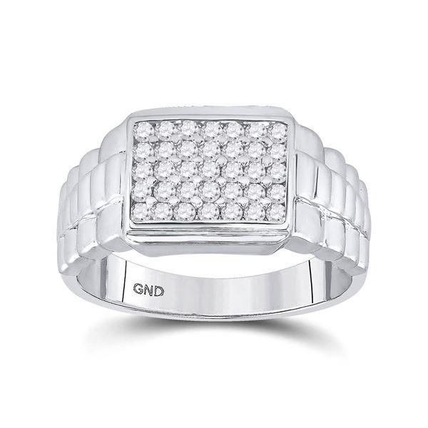Mens Diamond Rectangle Cluster Ribbed Ring 1/2 Cttw 10kt White Gold