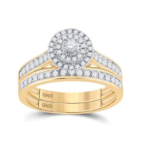 Diamond Halo Bridal Wedding Ring Band Set 1/2 Cttw 10kt Yellow Gold