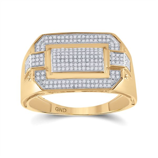 Mens Diamond Fashion Ring 1/3 Cttw 10kt Yellow Gold